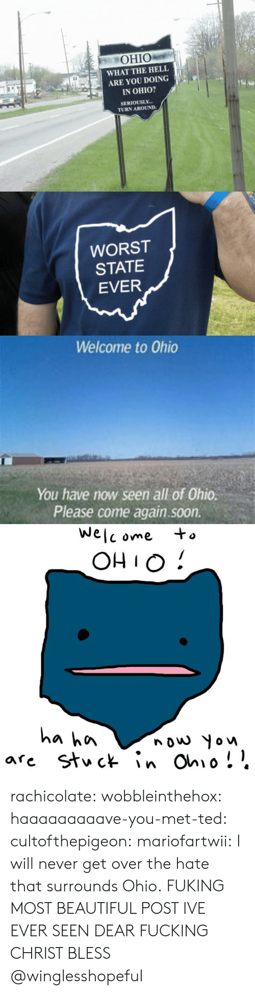 Beautiful, Fucking, and Soon...: OHIO  WHAT THE HELL  ARE YOU DOING  IN OHIO?  SERIOUSLY  TURN AROUND.   WORST  STATE  EVER   Welcome to Ohio  You have now seen all of Ohio.  Please come again.soon.   We  C ome  OHIO!  a hn  nouw Yow rachicolate: wobbleinthehox:  haaaaaaaaave-you-met-ted:  cultofthepigeon:  mariofartwii:  I will never get over the hate that surrounds Ohio.  FUKING MOST BEAUTIFUL POST IVE EVER SEEN DEAR FUCKING CHRIST BLESS      @winglesshopeful