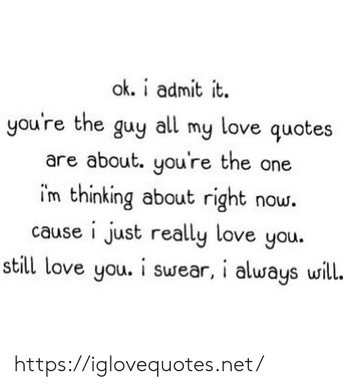 still-love-you: ok. i admit it  you're the guy all my love quotes  are about. you're the one  im thinking about right now.  cause i just really love you.  still love you. i swear, i always will- https://iglovequotes.net/