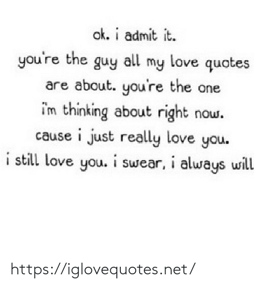 still-love-you: ok. i admit it.  you're the guy  my love quotes  all  are about. you're the one  i'm thinking about right now.  cause i just really love you.  i still love you. i swear, i always will https://iglovequotes.net/