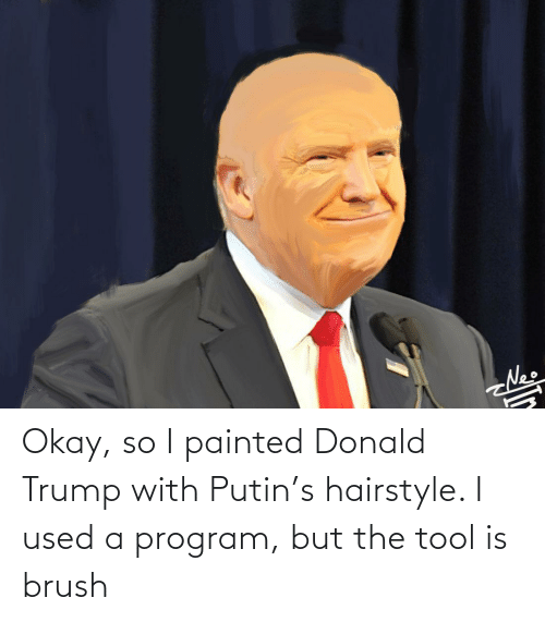 Donald Trump: Okay, so I painted Donald Trump with Putin's hairstyle. I used a program, but the tool is brush