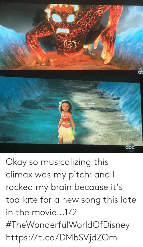 Brain: Okay so musicalizing this climax was my pitch: and I racked my brain because it's too late for a new song this late in the movie...1/2 #TheWonderfulWorldOfDisney https://t.co/DMbSVjdZOm