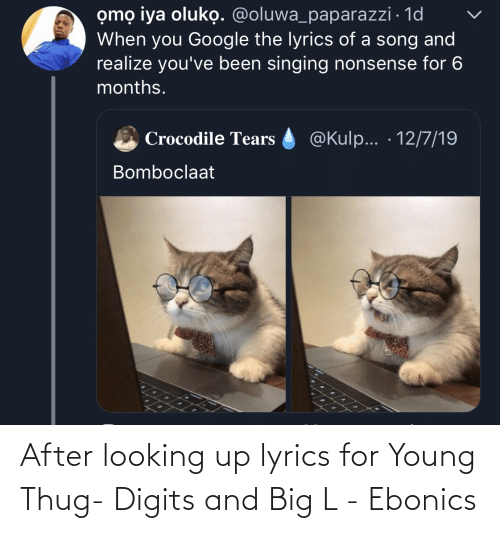 Singing: omọ iya oluko. @oluwa_paparazzi · 1d  When you Google the lyrics of a song and  realize you've been singing nonsense for 6  months.  @Kulp... · 12/7/19  Crocodile Tears  Bomboclaat After looking up lyrics for Young Thug- Digits and Big L - Ebonics