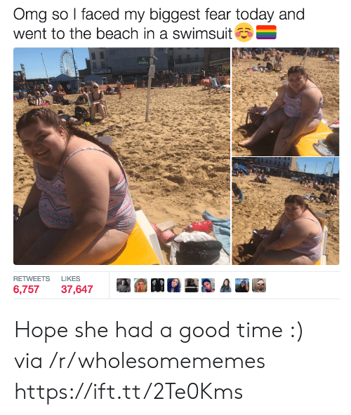 faced: Omg so I faced my biggest fear today and  went to the beach in a swimsuit  SHOWER  LIKES  RETWEETS  6,757  37,647 Hope she had a good time :) via /r/wholesomememes https://ift.tt/2Te0Kms