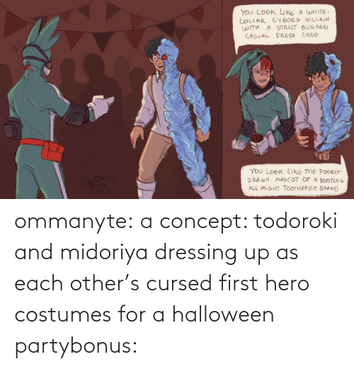 Party: ommanyte:  a concept: todoroki and midoriya dressing up as each other's cursed first hero costumes for a halloween partybonus: