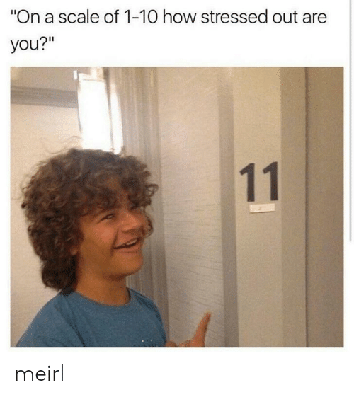 "stressed: ""On a scale of 1-10 how stressed out are  you?""  11 meirl"