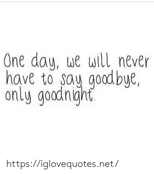 Will Never: One day, we will never  have to say goodbye,  only goodnight https://iglovequotes.net/