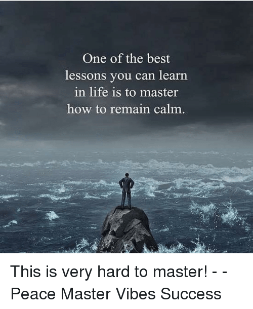 Life, Memes, and Best: One of the best  lessons you can learn  in life is to master  how to remain calm This is very hard to master! - - Peace Master Vibes Success