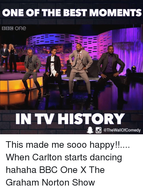 the graham norton show: ONE OF THE BEST MOMENTS  BBC One  IN TV HISTORY  O TheWallOfComedy This made me sooo happy!!.... When Carlton starts dancing hahaha  BBC One X The Graham Norton Show