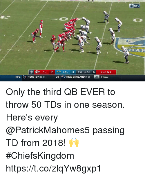 England, Memes, and Nfl: ONFL  HAR  NEW ENGLAND (1-01  27  FINAL  NFL HOUSTON (0-1) 20 Only the third QB EVER to throw 50 TDs in one season.  Here's every @PatrickMahomes5 passing TD from 2018! 🙌 #ChiefsKingdom https://t.co/zlqYw8gxp1