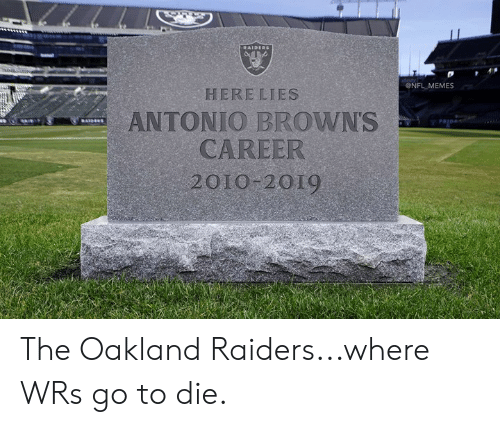 Memes, Nfl, and Oakland Raiders: ONFL MEMES  HERE LIES  ANTONIO BROWNS  CAREER  2010 2019 The Oakland Raiders...where WRs go to die.