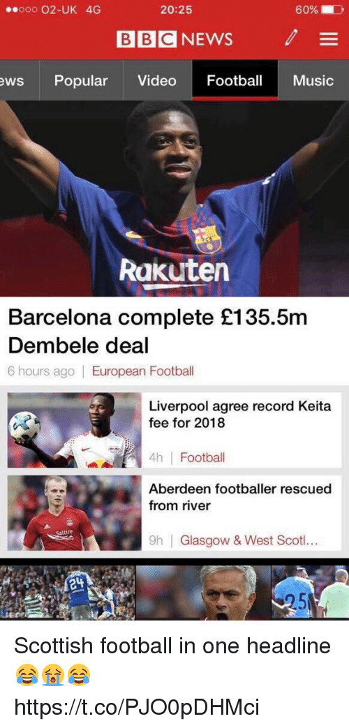 Uks: ooo 02-UK 4G  20:25  60%.  BBC NEWS  /  ews Popular Video Footba Music  Rakutern  Barcelona complete £135.5m  Dembele deal  6 hours ago European Football  Liverpool agree record Keita  fee for 2018  4h Football  Aberdeen footballer rescued  from river  tire  9h  Glasgow & West Scoti.. Scottish football in one headline 😂😭😂 https://t.co/PJO0pDHMci