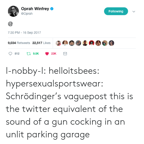 gun cocking: Oprah Winfrey  @Oprah  Following  7:30 PM - 16 Sep 2017  9,034 Retweets 22,517 Likes l-nobby-l:  helloitsbees:  hypersexualsportswear:   Schrödinger's vaguepost    this is the twitter equivalent of the sound of a gun cocking in an unlit parking garage