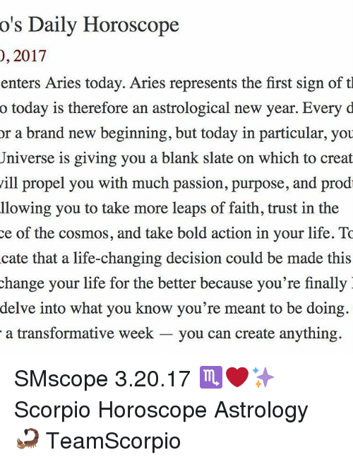 O'S Daily Horoscope 2017 0 Enters Aries Today Aries