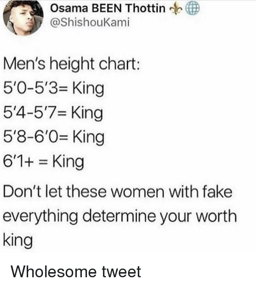 Fake, Women, and Wholesome: Osama BEEN Thottin  ShishouKami  Men's height chart:  5'0-5'3 King  5'4-5'7 King  5'8-6'0 King  6'1+King  Don't let these women with fake  everything determine your wortlh  king Wholesome tweet