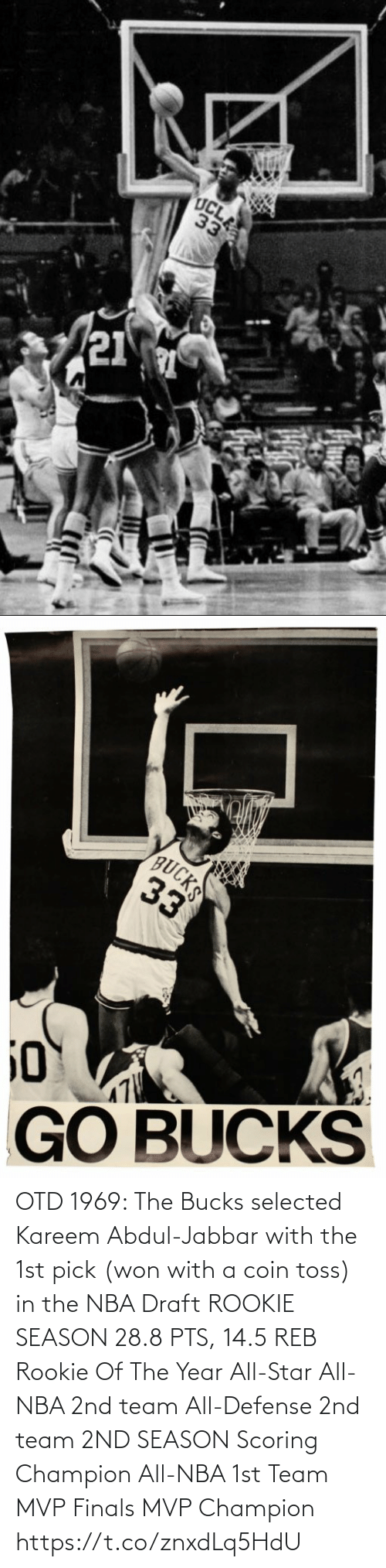 Selected: OTD 1969: The Bucks selected Kareem Abdul-Jabbar with the 1st pick (won with a coin toss) in the NBA Draft   ROOKIE SEASON 28.8 PTS, 14.5 REB Rookie Of The Year All-Star All-NBA 2nd team All-Defense 2nd team  2ND SEASON Scoring Champion All-NBA 1st Team MVP Finals MVP Champion https://t.co/znxdLq5HdU