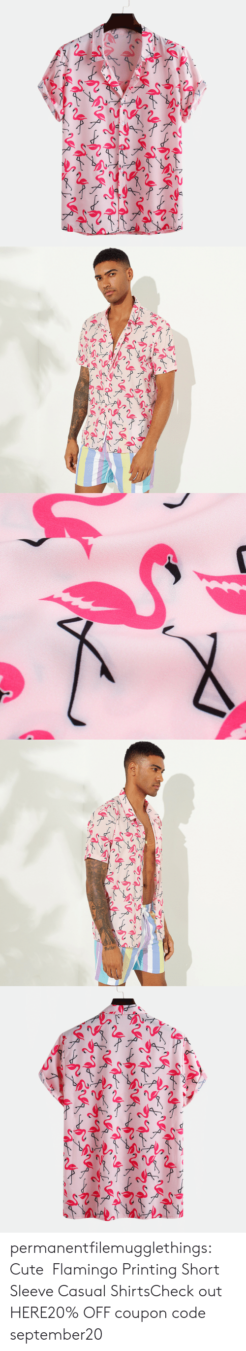 Cute, Tumblr, and Blog: other permanentfilemugglethings:  Cute Flamingo Printing Short Sleeve Casual ShirtsCheck out HERE20% OFF coupon code:september20