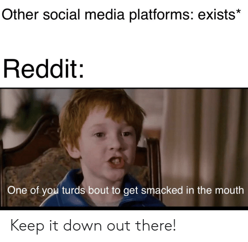 Reddit, Social Media, and Media: Other social media platforms: exists*  Reddit  One of you turds bout to get smacked in the mouth Keep it down out there!