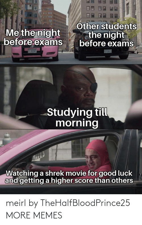 Luck: Other students  the night  before exams  Me the night  before exams  G152  S83-5H17  Studying till  morning  Watching a shrek movie for good luck  and getting a higher score than others  Plass meirl by TheHalfBloodPrince25 MORE MEMES