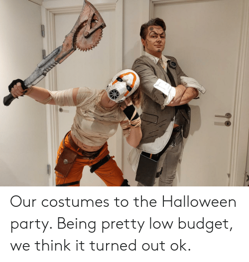 Budget: Our costumes to the Halloween party. Being pretty low budget, we think it turned out ok.