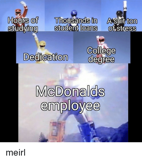 College, Loans, and Student Loans: ours of  ng  Thousands in  Student loans  H  Ashit ton  of stress  0  0  0  0  0  College  Dedication degree  MicDonalds  employee meirl
