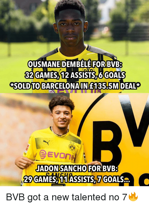 Goals, Memes, and Games: OUSMANE DEMBELE FOR BVB:  32 GAMES 12 ASSISTS 6GOALS  *SOLDTO BARCELONAINE135.5MIDEAL*  09  JADONSANCHO  29GAMES 11 ASSISTS 7 GOALS  FOR BVB: BVB got a new talented no 7🔥