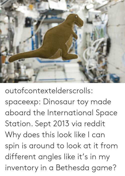 Dinosaur, Reddit, and Target: outofcontextelderscrolls: spaceexp:  Dinosaur toy made aboard the International Space Station. Sept 2013 via reddit   Why does this look like I can spin is around to look at it from different angles like it's in my inventory in a Bethesda game?