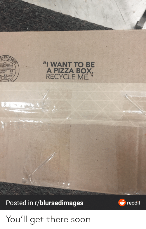 "reddit: PACKAGING  ER  CERTIFICAT  ""I WANT TO BE  A PIZZA BOX.  RECYCLE ME.""  THIS  SINGLEWALL  EETS ALL CONSTRUCTION  REMEITS OF APPLICABLE  EIGHT CLASSIFICATION  E CRUSH 32  (ECT)  Mt 75 MCHES  65 us  LOSAN  OSS  ELT  O reddit  Posted in r/blursedimages You'll get there soon"