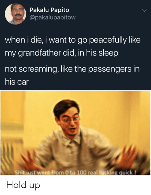 0 to 100: Pakalu Papito  @pakalupapitow  when i die, i want to go peacefully like  my grandfather did, in his sleep  not screaming, like the passengers in  his car  Shit just went from 0 to 100 real fucking quick! Hold up