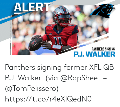 via: Panthers signing former XFL QB P.J. Walker. (via @RapSheet + @TomPelissero) https://t.co/r4eXIQedN0