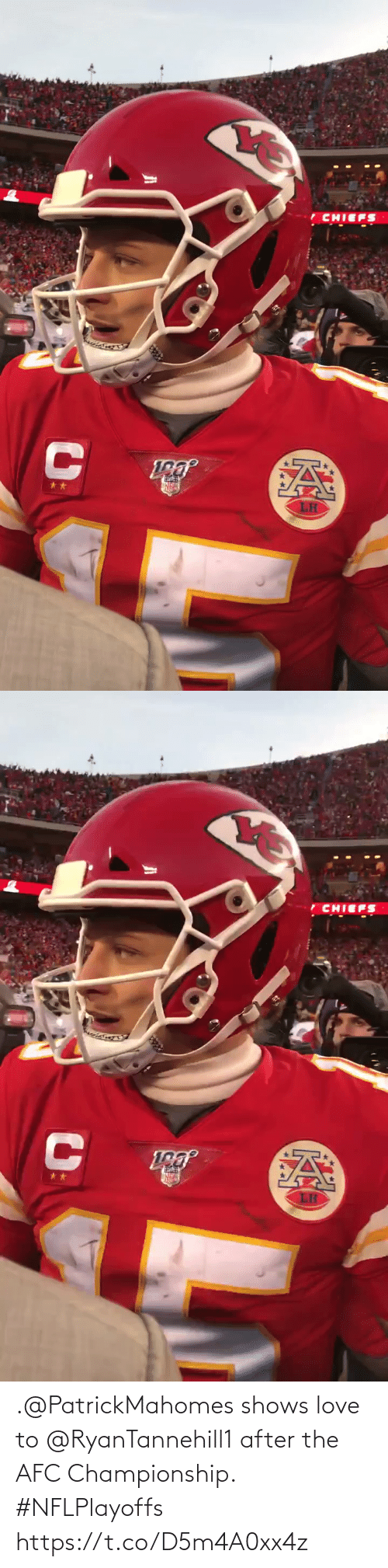 After: .@PatrickMahomes shows love to @RyanTannehill1 after the AFC Championship. #NFLPlayoffs https://t.co/D5m4A0xx4z