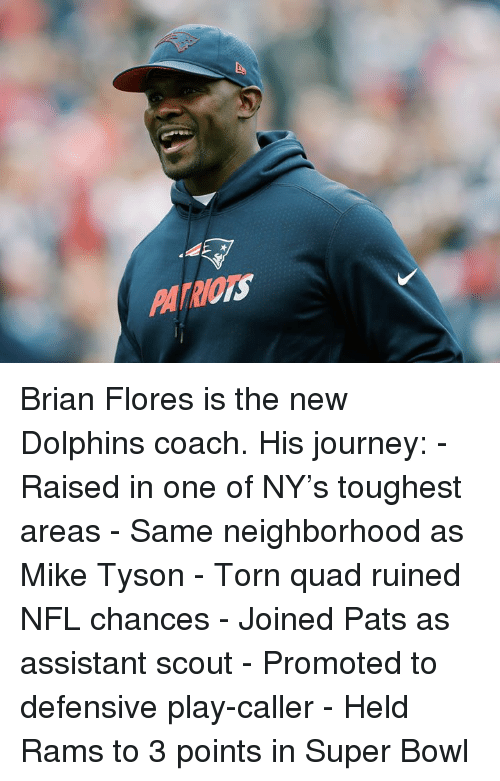 scout: PATRIOTS Brian Flores is the new Dolphins coach.  His journey: - Raised in one of NY's toughest areas - Same neighborhood as Mike Tyson - Torn quad ruined NFL chances - Joined Pats as assistant scout - Promoted to defensive play-caller - Held Rams to 3 points in Super Bowl