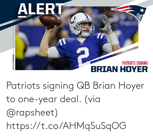 via: Patriots signing QB Brian Hoyer to one-year deal. (via @rapsheet) https://t.co/AHMqSuSqOG