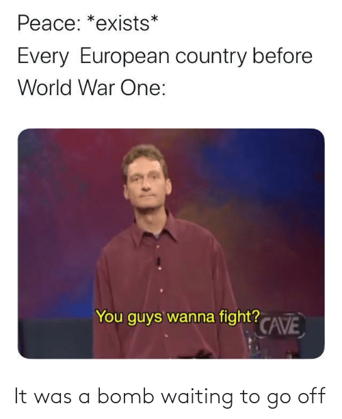 Go Off: Peace: *exists*  Every European country before  World War One:  You guys wanna fight? CAVE It was a bomb waiting to go off
