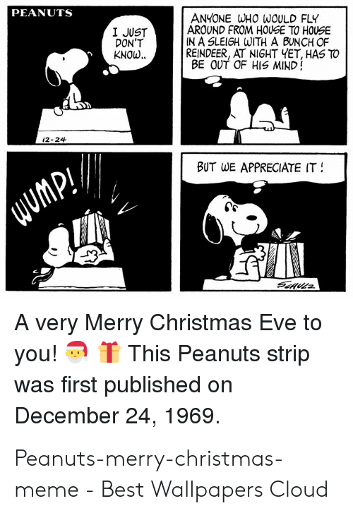 Christmas, Meme, and Appreciate: PEANUTS  ANYONE WHO WOULD FLY  AROUND FROM HOUSE TO HOUSE  IN A SLEIGH WITH A BUNCH OF  REINDEER, AT NIGHT YET, HAS TO  BE OUT OF HIS MIND!  I JUST  DON'T  KNOw..  12-24  BUT  WE APPRECIATE IT  A very Merry Christmas Eve to  you!TThis Peanuts strip  was first published on  December 24, 1969. Peanuts-merry-christmas-meme - Best Wallpapers Cloud