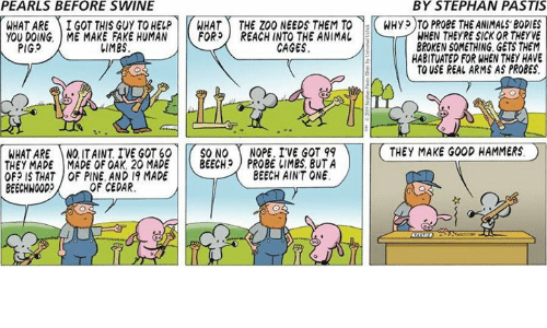 Bodies , Fake, and Memes: PEARLS BEFORE SWINE  BY STEPHAN PASTIS  WHAT ARE ) İ GOT THIS GUY TO HELP r HAT -THE ZOO NEEDSTEMT0-KWHyp T PROBETHEANIMALS,BODIES  YOU DOING. ME MAKE FAKE HUMAN  トFOR) REACH INTO THE ANIMAL  WHEN THEYRE SICK OR THEYVE  BROKEN SOMETHING GETS THEM  HABITUATED FOR WHEN THEY HAVE  TO USE REAL ARMS AS PROBES.  PIGS  しIMES  CAGES  WHAT ARE NQ ITAINT IVE GOT 60    ( SO NO ( NOPE. IVE GOT 99  THEY MADE I MADE OF OAK. 20 MADE    ( BEECH) PROBE IIMBS, BUTA  OF? IS THAT OF PINE AND 19 MADE  BEECHWOOD  THEY MAKE GOOD HAMMERS。  BEECH AINT ONE  OF CEDAR.