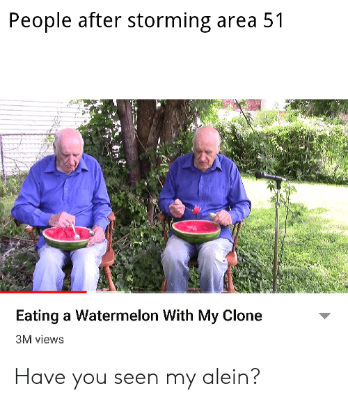 Area 51, Watermelon, and You: People after storming area 51  Eating a Watermelon With My Clone  3M views Have you seen my alein?