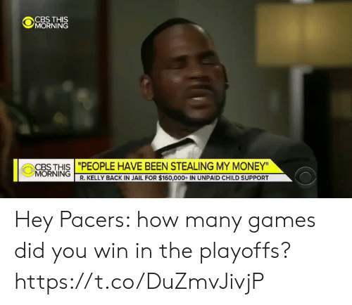"""R. Kelly: """"PEOPLE HAVE BEEN STEALING MY MONEY""""  R. KELLY BACK IN JAIL FOR $160,000+ IN UNPAID CHILD SUPPORT  CBS THIS  0 NORNİNG 