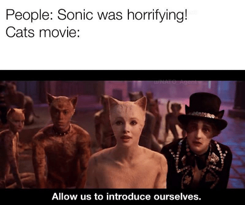 Movie: People: Sonic was horrifying!  Cats movie:  u/NATO Agent  Allow us to introduce ourselves.