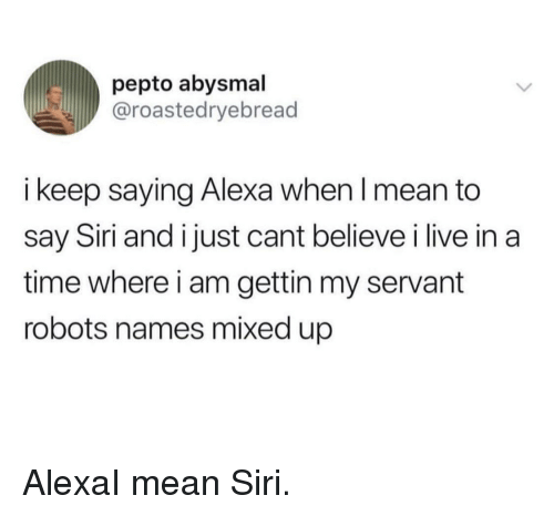 Siri, Live, and Mean: pepto abysmal  @roastedryebread  i keep saying Alexa when I mean to  say Siri and i just cant believe i live in a  time where i am gettin my servant  robots names mixed up AlexaI mean Siri.