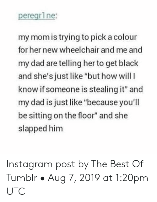 "Dad, Instagram, and Tumblr: peregr1ne:  my mom is trying to pick a colour  for her new wheelchair and me and  my dad are telling her to get black  and she's just like ""but how willI  know if someone is stealing it"" and  my dad is just like ""because you'll  be sitting on the floor"" and she  slapped him Instagram post by The Best Of Tumblr • Aug 7, 2019 at 1:20pm UTC"