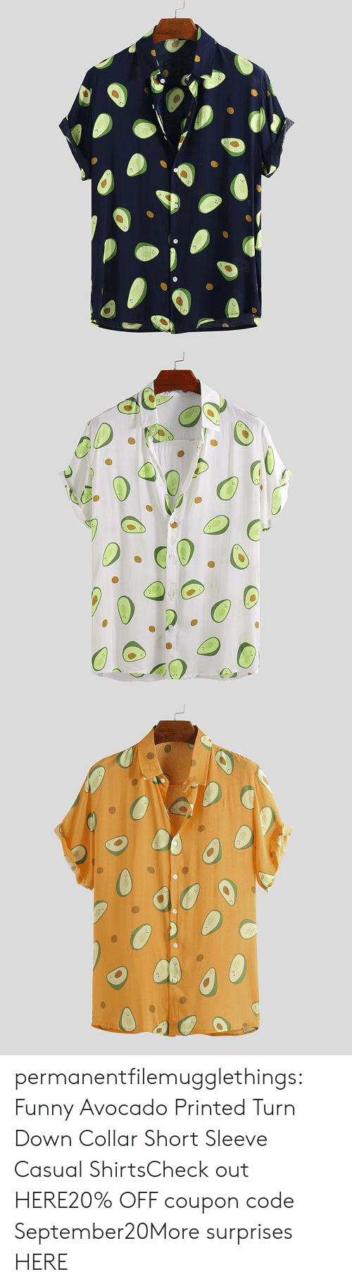 Funny, Tumblr, and Avocado: permanentfilemugglethings:  Funny Avocado Printed Turn Down Collar Short Sleeve Casual ShirtsCheck out HERE20% OFF coupon code:September20More surprises HERE