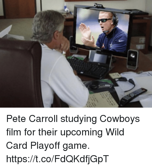 Pete Carroll: Pete Carroll studying Cowboys film for their upcoming Wild Card Playoff game. https://t.co/FdQKdfjGpT