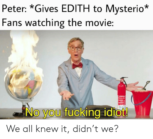 Fucking, Movie, and Idiot: Peter: *Gives EDITH to Mysterio*  Fans watching the movie:  No you fucking idiot! We all knew it, didn't we?