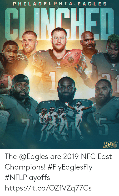 champions: PHILADELPHIA. E AGLES  CLINSHED  THE QURE  FABLE  EABLES  32  ATLES  AILES The @Eagles are 2019 NFC East Champions! #FlyEaglesFly #NFLPlayoffs https://t.co/OZfVZq77Cs