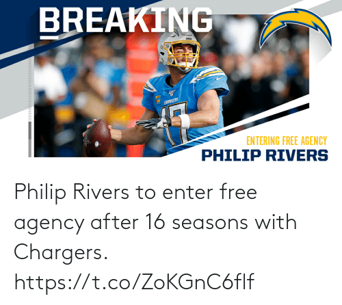 🤖: Philip Rivers to enter free agency after 16 seasons with Chargers. https://t.co/ZoKGnC6flf