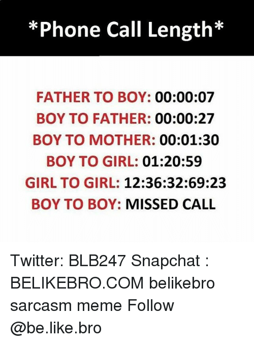 Broing: *Phone Call Length*  FATHER TO BOY: 00:00:07  BOY TO FATHER: 00:00:27  BOY TO MOTHER: 00:01:30  BOY TO GIRL: 01:20:59  GIRL TO GIRL: 12:36:32:69:23  BOY TO BOY: MISSED CALL Twitter: BLB247 Snapchat : BELIKEBRO.COM belikebro sarcasm meme Follow @be.like.bro