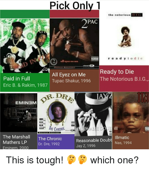 paid in full: Pick only  the notorious  PAC  r e a d y  E o d e  Ready to Die  All Eyez on Me  Paid in Full  The Notorious B.I.G  Tupac Shakur, 1996  Eric B. & Rakim, 1987  OR DRE,  EMIN3M  UB ill  The Marshall  The Chronic  Reasonable Illmatic  Doub  Nas, 1994  Mathers LP  Dr. Dre, 1992  Jay Z, 1996  Eminem, 2000 This is tough! 🤔🤔 which one?