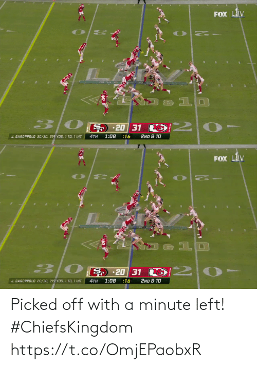 Off: Picked off with a minute left! #ChiefsKingdom https://t.co/OmjEPaobxR