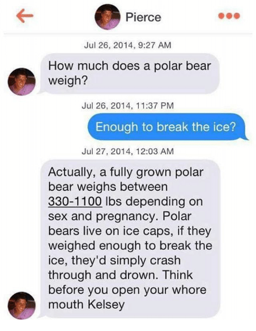 mouthing: Pierce  Jul 26, 2014, 9:27 AM  How much does a polar bear  weigh?  Jul 26, 2014, 11:37 PM  Enough to break the ice?  Jul 27, 2014, 12:03 AM  Actually, a fully grown polar  bear weighs between  330-1100 lbs depending on  sex and pregnancy. Polar  bears live on ice caps, if they  weighed enough to break the  ice, they'd simply crash  through and drown. Think  before you open your whore  mouth Kelsey