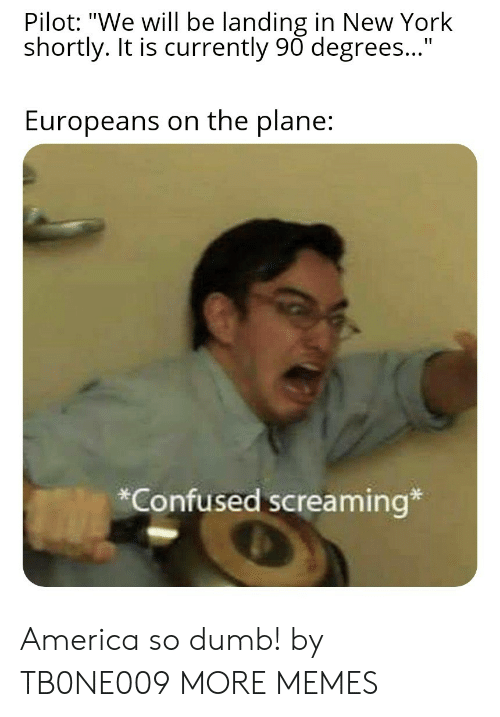 """So Dumb: Pilot: """"We will be landing in New York  shortly. It is currently 90 degrees...""""  Europeans on the plane:  *Confused screaming* America so dumb! by TB0NE009 MORE MEMES"""